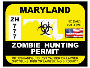 Maryland Zombie Hunting Permit Bumper Sticker
