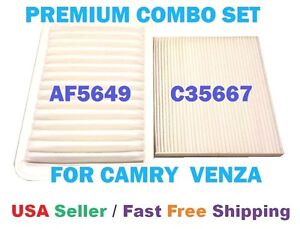 Premium Engine Cabin Air Filter Combo Set For Toyota Camry Venza 4 Cyl Only