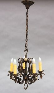 1920s Spanish Revival Bronze Chandelier W 5 Lights Antique Fits Tudor 9252