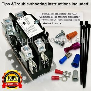 Cornelius 164884002 Contactor 115v Coil 30a hardware Instruction Ships Today