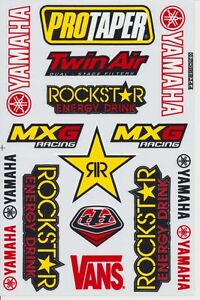 Mxg Racing Yamaha Rockstar Energy Drink Logo Helmet Clear Sticker Kits Decals