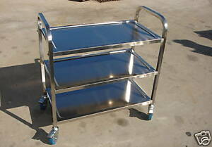 Stainless Steel Utility Bus Cart 300 Lbs Capacity S