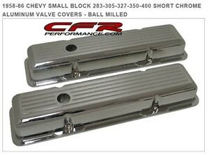1958 86 Chevy Small Block 283 305 327 350 400 Short Chrome Aluminum Valve Covers