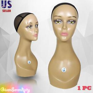 Realistic Plastic Female Mannequin Head Lifesize Display Wig Hat 18 C2