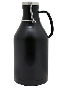 Kegco Grizzly 64 Oz Double Wall Stainless Steel Flip Top Beer Growler Black