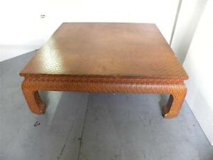 70 S Karl Springer Grass Cloth Wrapped Asian Low Coffee Table