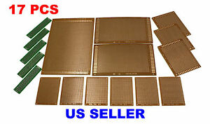 17pcs Kit Prototyping Pcb Printed Circuit Board Prototype Breadboard Perfboard