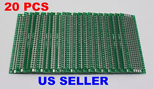 20 Pcs 2x8cm Pcb Double sided Diy Proto Circuit Board Breadboard Pcb universal