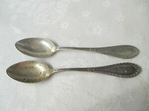 Antique M H Wilkens Sohne 2 Demitasse 5 O Clock Spoons 800 Solid Silver Somme