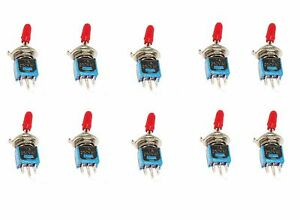 10 On off on Spdt Red Handle Subminiature Toggle Switch