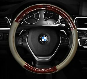 Steering Wheel Cover Beige Wood Grain Chrome Line Fits 14 5 15 5 M