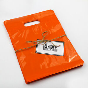 500 11x15 Orange Plastic Retail Die cut Handle Merchandise Bag Bou