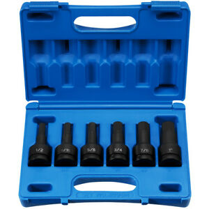 Grey Pneumatic 8096h 3 4 Drive 6 Piece Hex Drive Sae Impact Socket Set