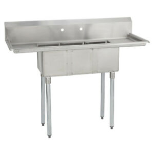 3 Three Compartment Commercial Stainless Steel Sink 54 X 20 G
