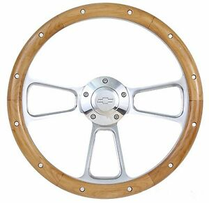14 Billet Aluminum Wood Steering Wheel For Chevy Gmc Trucks Vans Full Kit