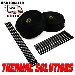 Black Exhaust Wrap Turbo Manifold 2 Rolls 1 16 x2x 50 Ft Black Stainless Ties