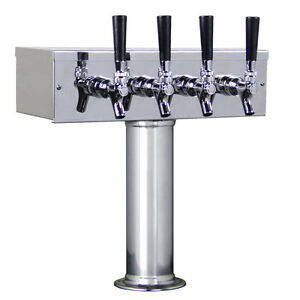 Kegco Ttow 4f ss Polished Stainless Steel T style 4 Faucet Taps Beer Tower