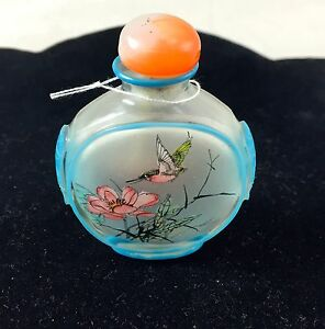 Chinese Snuff Bottle Orange Top With Turquoise Trim Birds And Nature Scene