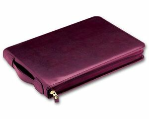 7 ring 3 on a page Real Leather Zipper Business Check Book Binder Burgundy new