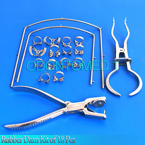 Rubber Dam Kit Of 18 Pieces With Frame Punch Clamps Dental Instruments Dn 2078