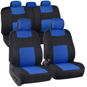 Black Blue Seat Covers For Car Auto Suv Polyester Cloth Integrated Headrests