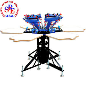 6 Color 6 Station Double Wheel Screen Printing Machine T shirt Heavy Duty Diy