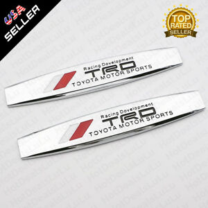 2x Car Toyota Trd Side Fender Skirts Sticker Metal Badge Emblem Decoration Gift