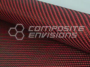 Red Reflections Carbon Fiber Made With Kevlar Fabric 2x2 Twill 3k 5 7oz
