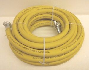 3 4 X 50ft Jackhammer Air Hose Assembly 300 Psi Contitec Yellow With Am6 Ends