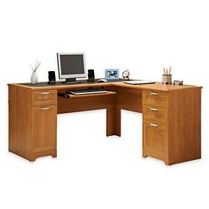 New L shaped Office Desk With Hutch Computer Executive Corner Table Furniture Hm