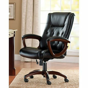 High Back Executive Home Office Bonded Leather Chair With Sculpted Wooden Arms