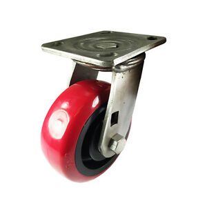 5 X 2 Heavy Duty Stainless Steel polyurethane Wheel Caster Swivel
