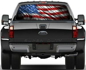 American Flag Version 2 Rear Window Graphic Decal Truck Suv