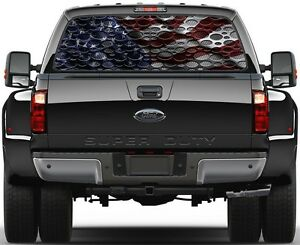 Punch Steel Carbon Fiber Usa American Flag Rear Window Graphic Decal For Truck