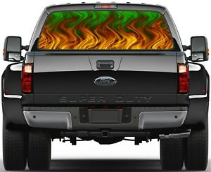 Green Flame Rear Window Graphic Decal For Truck Suv Vans