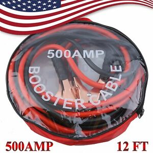 New 12 Ft 4 Gauge Heavy Duty Power Booster Cable Emergency Car Battery Jumper