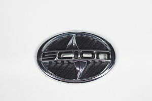 Scion Emblem Big Black Carbon Fiber Style Tc Xa Front Letter Badge Sticker