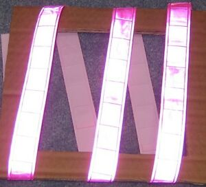 Pink Gloss Sew On Reflective Tape Pvc 3 x1