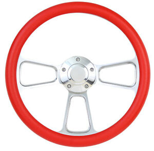 Red Steering Wheel Complete Billet Kit For 1949 1957 Ford Pick Up F1 F100
