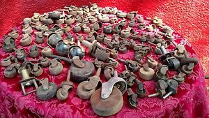 100 Lot Casters Stem Cast Iron Wood Brass Furniture Wheels Steampunk