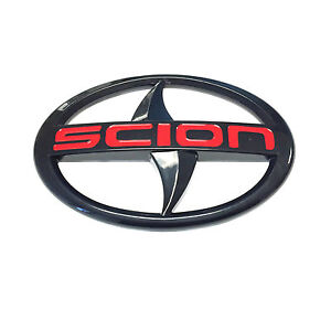 For Scion Large Emblem Red Letter Black Badge Sticker Front Jdm Black Tc Xa