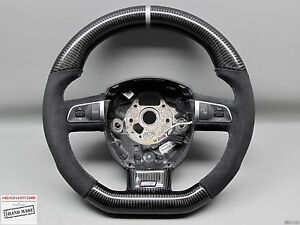 Audi S4 Rs4 S5 S6 A8 S8 Silver Ring Alcantara Small Thick Carbon Steering Wheel