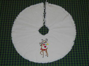Reindeer Ornaments Embroidered Tree Skirt 24 Christmas Country Prim Winter
