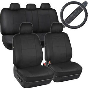 Black Pu Leather Seat Covers Steering Wheel Cover Set Non Slip Grip Auto Truck
