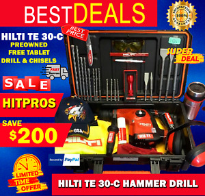 Hilti Te 30 c L k Preowned Durable Free Tablet Drills Chisels Fast Ship