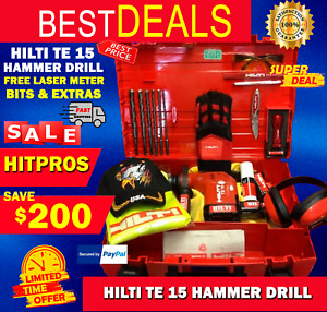 Hilti Te 15 Hammer Drill Free Laser Meter Bits Extras Quick Shipping