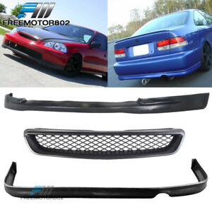 For 96 97 98 Honda Civic 2 4dr Ctr Pu Front Rear Bumper Lip Abs Type R Grill