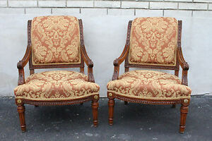 Lovely Pair Of French Provincial Walnut Carved Fauteuils Chairs New Upholstery