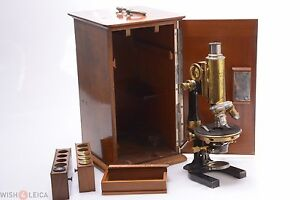 Reichert Monocular Brass Antique Microscope In Original Wooden Case