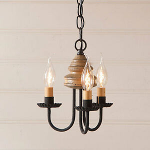 Early American Kitchen Light Bellview Wooden Chandelier In Americana Pearwood